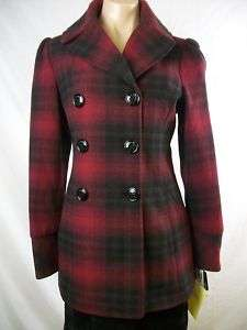 New Womens STEVE MADDEN Red Double Breasted Peacoat M