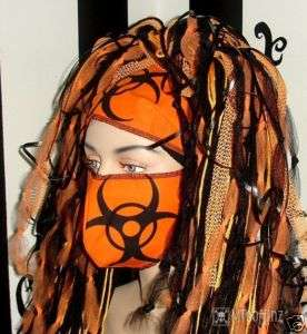 DIY Cyber Goth BioHazard Surgical Mask Orange Rave Neon