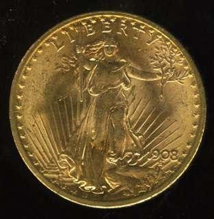 VERY NICE 1908 SAINT GAUDENS GOLD DOUBLE EAGLE G$20  YX8
