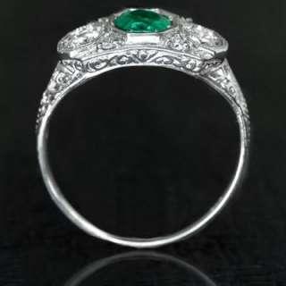 NATURAL EMERALD DIAMOND ART DECO RING VINTAGE 3 STONE WHITE GOLD GREEN