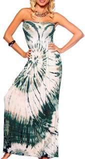 Batik Maxi Boho Sun Strapless Tube Long Summer Dress