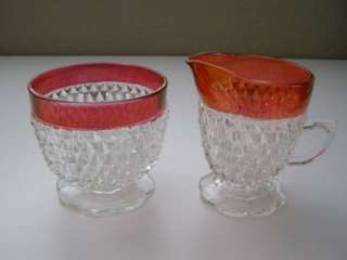 pce Ruby Flash Diamond Point   Sugar, Creamer & Tray