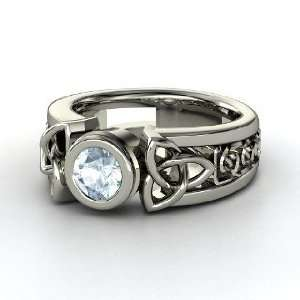 Celtic Sun Ring, Round Aquamarine 14K White Gold Ring Jewelry