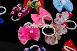 Pair Pretty Style Head Dress Flower Bowknot Pet Dog Cat Hair