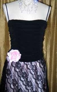 NWT Jessica McClintock Retro Styled Pink Black Dress 14