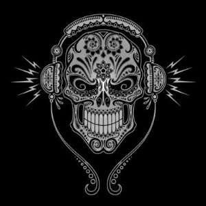 DJ Sugar Skull Black Stickers Arts, Crafts & Sewing