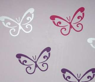 24 SILVER SWIRL BUTTERFLY WALL STICKERS *REMOVABLE*