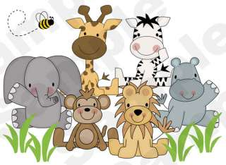 JUNGLE JEEP ANIMALS BABY NURSERY WALL STICKERS DECALS