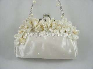 Cute Ivory/Cream Flower Pearl Wedding Prom Clutch Purse EF 087169