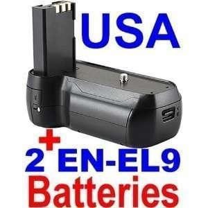 High Quality Battery Grip + 2 EN EL9 Batteries for Nikon