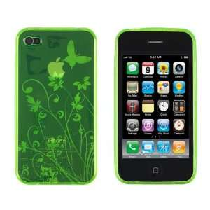 Neon Green Butterfly Flower TPU Case for Apple iPhone 4