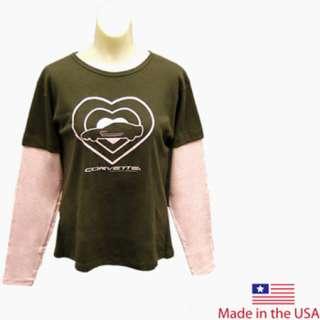 Medium ladies brown & pink C5 Corvette long sleeved t shirt