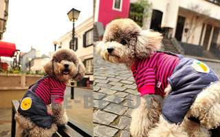 Black Pink Stripe Pet Dog Clothes Apparel Jeans Pants Overalls Outfits