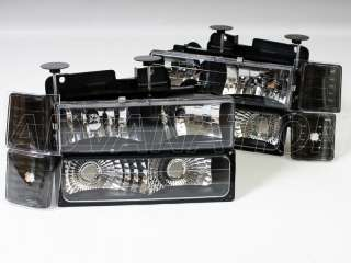 94 98 Chevrolet C1500/K1500/C2500 Black Chrome Headlights + Bumper