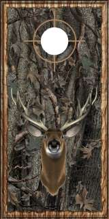 oak camo wood deer buck head hunting cornhole board wrap decal set