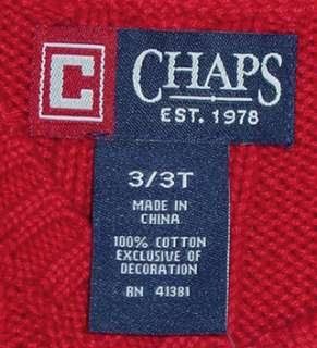 CHAPS BOYS RED CABLE KNIT SWEATER VEST SIZE 3/3T NWT