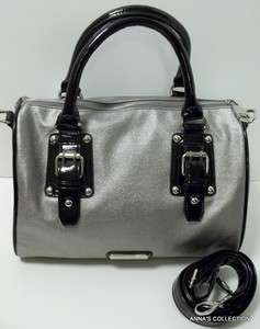 NWT  STEVE MADDEN SPEEDY BLACK/SILVER SATCHEL PURSE