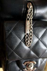 AUTH CHANEL Ligne Cambon Large Multipocket Black Lambskin Reporter