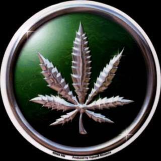HEMP LEAF chrome/metallic STICKER pot weed grass herb