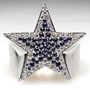 Dallas Cowboys Star Diamond & Blue Sapphire Players Ring Solid