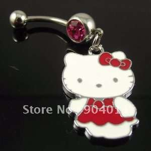 ring with lovely cat hello kitty, body piercing jewelry, navel ring