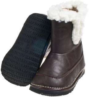 Toddler Childrens Leather Squeaky Boots Shoes Brown & Fleece Lining