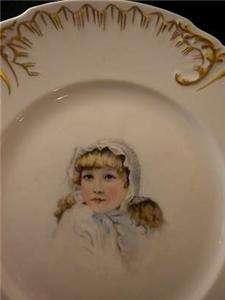 JP LIMOGES France Hand Painted GIRL PORTRAIT Gold PLATE