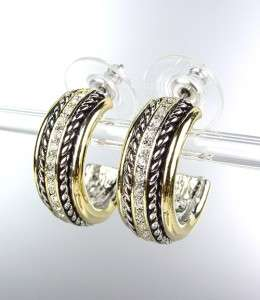 Style Gold Silver Cable CZ Crystals PETITE Hoop Earrings