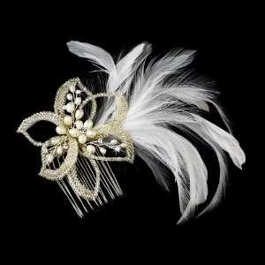 Elegant Ivory Flower Hair Comb Rhinestones & Freshwater