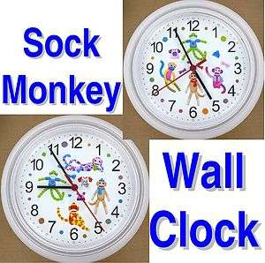 SOCK MONKEY WALL CLOCK Socks Monkeys Rockford Toy Doll