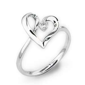 18K White Gold Heart Shaped Solitaires Round Diamond Ring
