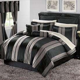 MODERN STRIPE 12pc Comforter SHEETS PILLOWS Bed Bag SET NEW