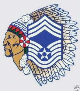 USAF AIR FORCE CHIEF MASTER SERGEANT INDIAN HEAD DECAL