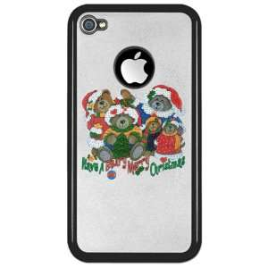 iPhone 4 or 4S Clear Case Black Have A Beary Merry Christmas