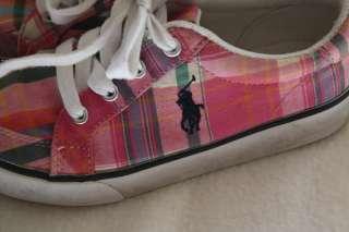 Girl Ralph Lauren Polo Logo Pink Green Plaid Sneaker Athletic Shoe