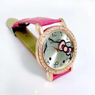 Hello Kitty Crystals Stone Girls Kids Children Quartz Watch Bracelet