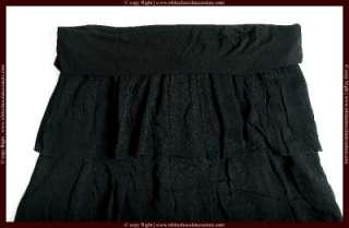 NEW $128 Chipie Women Black Ruffle Laced Skirt L