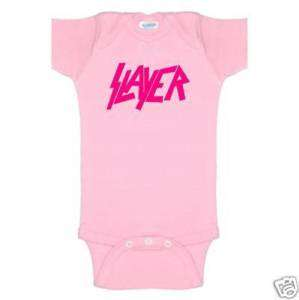 slayer pink baby onsie romper heavy metal clothes shirt