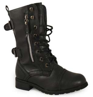 KIDS GIRLS BLACK COMBAT MILITARY ARMY BOOTS SIZES 10 2