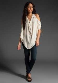 245 NWT Haute Hippie Drape Halter Top Silk Blouse Swan Size Medium