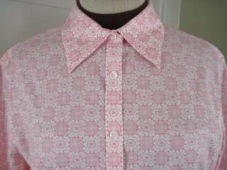 BROOKS BROTHERS Pink Floral Non Iron Fitted Dress Shirt 16