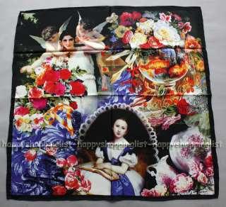Elegant Brand Handmade 100% Twill Silk Scarf TW7857 Oil Painting