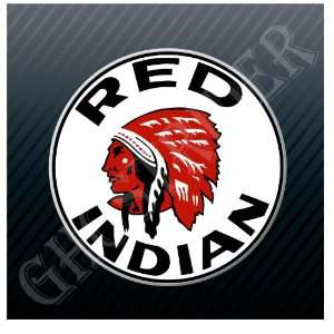 Red Indian Gasoline Gas Fuel Pump Station Vintage Sticker