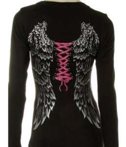 Gothic Sexy Long Sleeve Angel Wings Corset Harley Biker T Shirt S 3XL