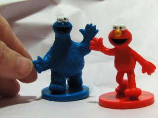 Sesame Street Muppets Toy PVC Figure Lot 2 Elmo Cookie Monster Cake