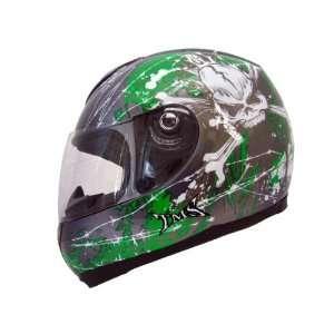 GREY/GREEN SKULL X BONE FULL FACE MOTORCYCLE HELMET(JX A5007 SKULL X
