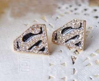 Fashion Black Enamel Crystal Gold Geometry Superman S Earring Free