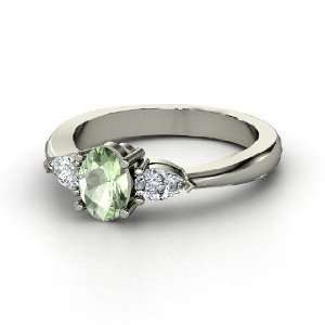 Alma Ring, Oval Green Amethyst Sterling Silver Ring with