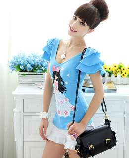 Boho Season New arrival Blue Women Cutie T shirt Shirt Shirts Tops