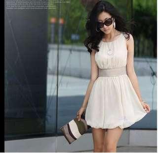 Fashion Korea Women Scoop Neck Mini Dress Empire Waist Chiffon Lined
